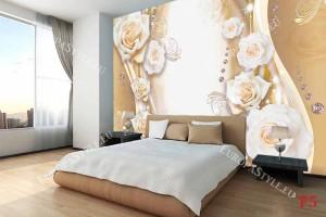 Фототапети с бледи рози крем вертикални с орнаменти