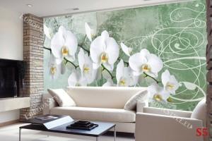 Фототапет орхидеи зелена гама мазилка