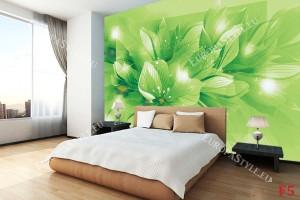 Фототапети цветна композиция лилиуми в зелено