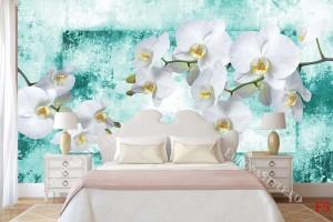 Фототапети прекрасни бели орхидеи на мазилка тюркоаз