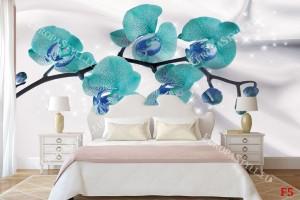 Фототапети клонка орхидея тюркоаз върху коприна