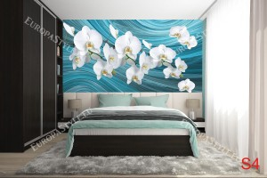 Бели орхидеи на тюркоазен фон абстракт