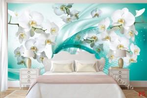 Фототапети бели орхидеи на абстрактна основа тюркоаз 2