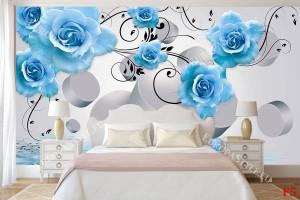 композиция със сини  рози и 3д елементи