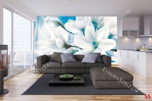 абстрактна композиция с магнолия макро син