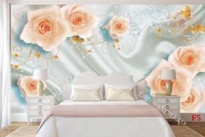 Фототапет 3Д ефект бледи рози върху коприна с орнаменти