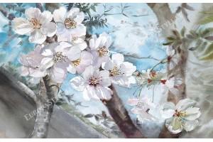 Фототапети пролетен цвят рисуван мотив на син фон