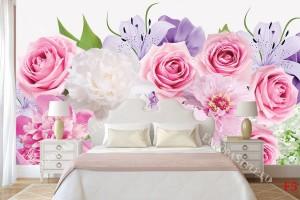 Фототапети букет от шарени цветя и розови рози