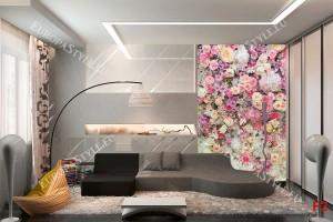 Фототапет стена от шарени цветя и рози