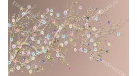 Фототапет клонка рисувани малки шарени цветя