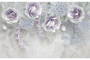 Фототапет нежни красиви цветя в светли пастелни тонове 2 варианта