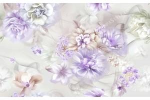 Фототапет пастелни рисувани цветя в 2 цвята