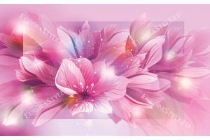 Фототапет абстракт цветя в лилава гама