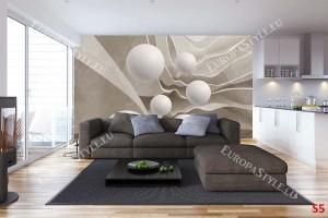 Фототапети 3д релефна стена със сфери в 2 цвята бежов и сив