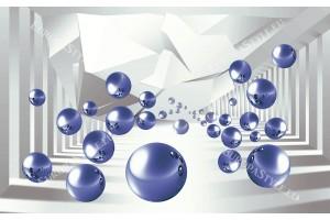 3д пространство със сфери и пречупени линии в 2 цвята