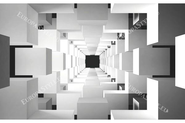 Фототапет 3д ефект стена геометрични кубове в тунел