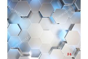 Фототапет 3д ефект стена геометрични ромбове сияние в 2 цвята