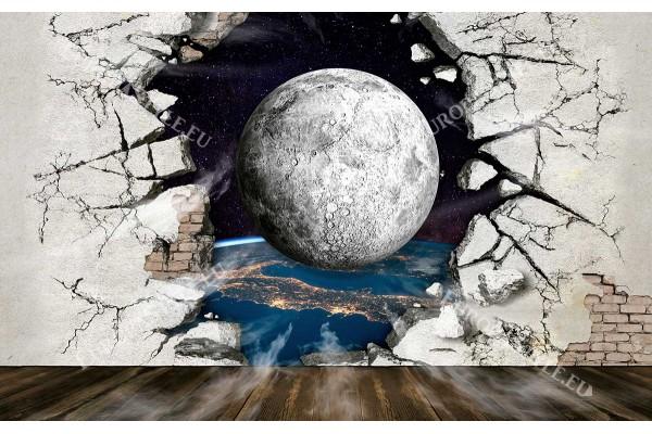 разбита стена с изглед към планета