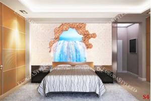 3д илюзия на тухлена стена и водопад