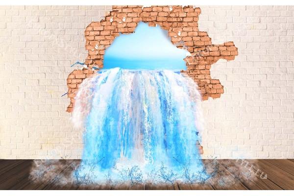 Фототапет 3д илюзия на тухлена стена и водопад