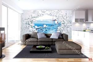 Фототапет 3д разбита стена с изглед от Санторини