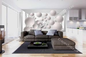 Фототапети 3д тунел абстракт с големи сфери 1