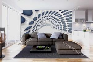 Фототапет 3Д геометричен двуцветен тунел в 2 варианта