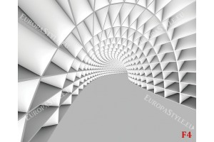 3Д бяло-сив тунел геометрични форми