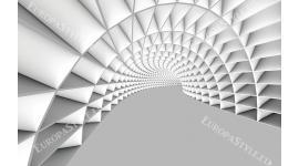 Фототапет 3Д бяло-сив тунел геометрични форми