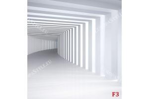 Фототапети бяло - сив 3д тунел с колони