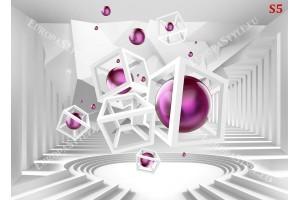 Фототапети 3д бял тунел лабиринт със сфери в розово и лилаво