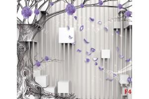 Фототапет 3д стена с графика дърво и кубични форми в 3 цвята