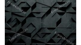 Фототапет 3Д геометрична  стена в черно и сиво