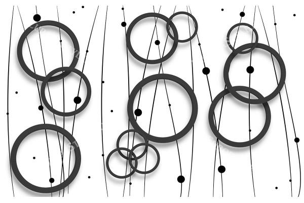 Фототапет дизайнерска стена кръгове в бяло и черно