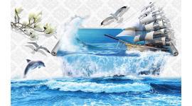 Фототапети 3д стена с преливащо море и кораб