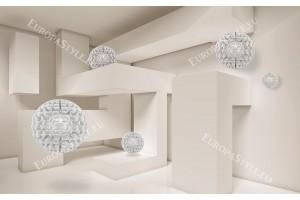 Фототапет 3д ефект стена геометричен лабиринт със сфери 2 цвята