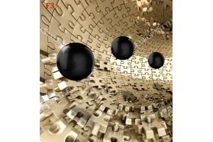 Фототапет 3д ефект стена тунел пъзел със сфери 2 цвята