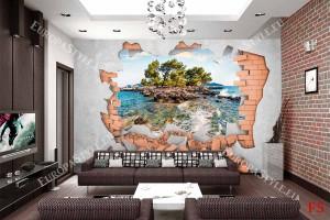 Фототапет стена разбити тухли с пейзаж на самотен остров
