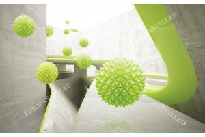 Фототапет бетон стени с 3д ефект зелени сфери