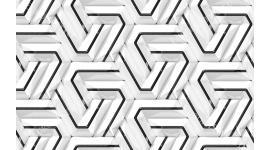 Фототапет 3д стена бяло и черно с геометрични фигури