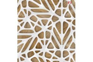 Фототапет 3д стена фигурална в бяло и дърво
