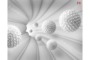 Фототапет спирала с назъбени сфери с 3д ефект в три цвята