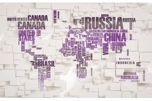 Фототапет кубична стена с графика на карта на света в 3 цвята