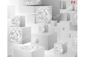 Фототапет 3Д ефект бяло-сив тунел с флорален релеф