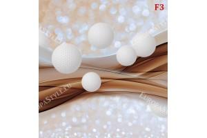 Mодерен фототапет абстрактни вълни сфери с в 3 цвята
