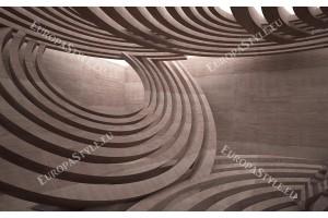 Фототапет с триизмерен пространствен ефект в сивеещо кафяво