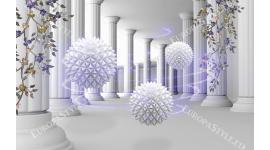 Фототапет триизмерен ефект колони със сфери в 2 цвята