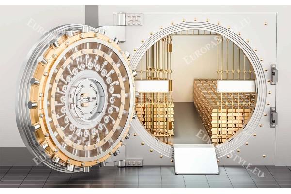 Фототапет 3д визуализация на сейф със злато