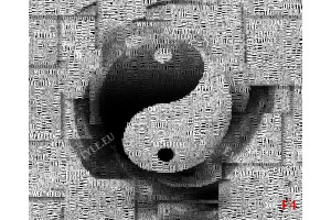 Фототапет абстрактен фототапет символ на инг и янг