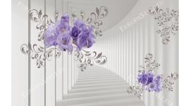 Фототапет 3Д ефект в бежаво и лилави  цветя в варианта